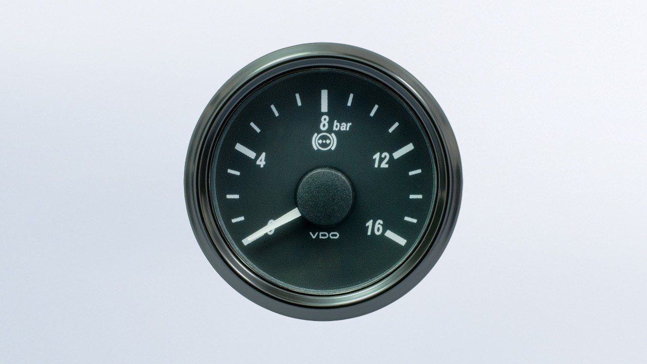 SingleViu  52mm 16bar brake pressure gauge.   OEM packaging