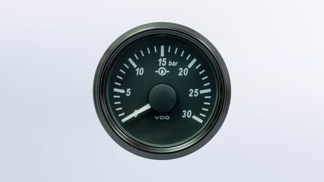 SingleViu 2 1/16in (52mm) 30bar brake pressure gauge.