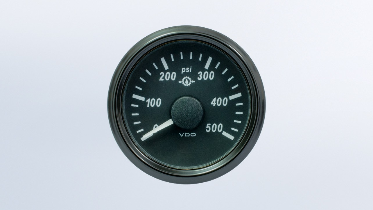 SingleViu 2 1/16in (52mm) 500psi gear pressure gauge.