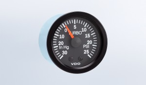 "Vision Black  30"" HG-25 PSI Turbo Gauge with Tubing Kit and Metric Thread Adapters, 12V"
