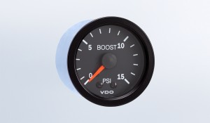 Vision Black  15 PSI Mechanical Boost Gauge with Tubing and US Thread Adapters, 12V