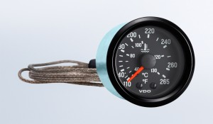 "Cockpit International 265°F/130°C Mechanical Temperature Gauge with 144"" Capillary, 12V"