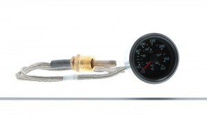 "Cockpit AutoChoice Generic 265F Mechanical Water Temperature Gauge with 72"" (6ft) Braided Stainless Steel Capillary Tube and Brass Temperature Probe.  Black Dial and Black Bezel.  OEM 100pc Master Pack Qty Only"