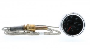 "Cockpit AutoChoice Generic 265F Mechanical Water Temperature Gauge with 72"" (6ft) Braided Stainless Steel Capillary Tube and Brass Temperature Probe.  Black Dial and Chrome Bezel.  OEM 100pc Master Pack Qty Only"
