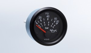 "Cockpit International 80 PSI/5 bar Oil Pressure Gauge, for VDO Sender, 12V, .250"" Spade Connection"