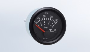 "Cockpit International 150 PSI/10 bar Oil Pressure Gauge, Use with VDO Sender, 12V, .250"" Spade Connection"