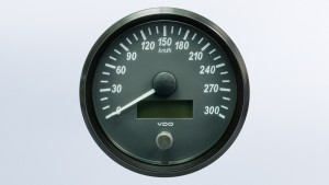 SingleViu  100mm 300km/h speedometer. Retail pack with harness