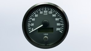 SingleViu  100mm J1939 200km/h speedometer.  Retail pack with harness