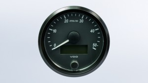 SingleViu  80mm 5000RPM tachometer.  Retail pack with harness