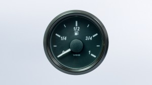 SingleViu  52mm fuel level gauge. European 0-1/1 scale.  3-180 ohm sender required.  Retail pack with harness