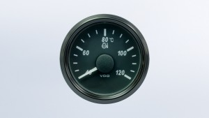 SingleViu  52mm 120°C water temperature gauge.   291-22 ohm sender required. Retail pack with harness