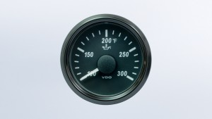 SingleViu  52mm 300°F oil temperature gauge.  322-18 ohm sender required. Retail pack with harness