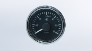 SingleViu 2 1/16in (52mm) 60psi turbo pressure gauge.