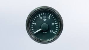 SingleViu  52mm 25bar gear oil pressure gauge. 0-180 ohm sender required. Retail pack with harness