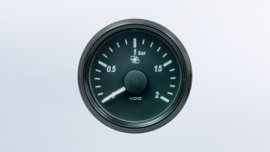 SingleViu 2 1/16in (52mm) 2bar turbo pressure gauge.