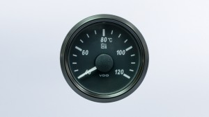 SingleViu 2 1/16in (52mm) 120°C hydraulic oil temperature gauge.