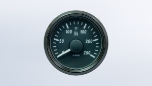 SingleViu 2 1/16in (52mm) 250°F hydraulic oil temperature gauge.